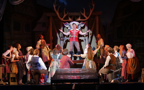 Dane Szohner as Gaston and the cast of Beauty and the Beast. Tim Matheson photo.