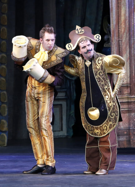 Victor Hunter (Lumiere) and Steven Greenfield (Cogsworth). Tim Matheson photo.
